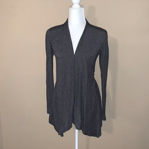 Grey long sleeved long cardigan with tie in back